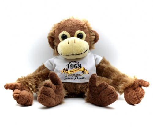 Personalised Monkey Teddy Bear N23 -  'Born In Any Year Awesome' Birthday / Christmas Gift